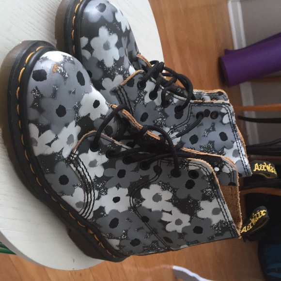 Dr martens shoes grey and white flower doc martens poshmark grey and white flower doc martens mightylinksfo
